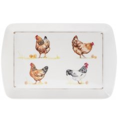 A charming country living tray with an attractive chicken design. A lovely gift item and kitchen essential.