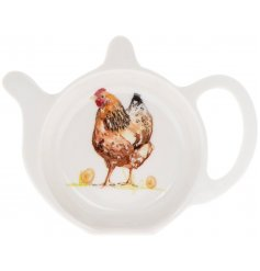 Keep organised in the kitchen with this charming chicken design tea bag tidy.