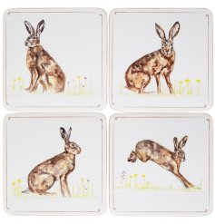 Bring a classical Country Charm to any kitchen interior with these delightful square coasters with a printed Hare decal