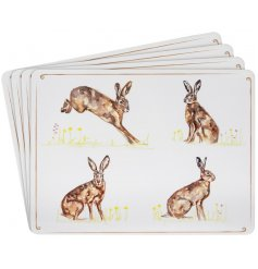 Bring a classical Country Charm to any kitchen interior with these delightful rectangle place mats with a printed Hare