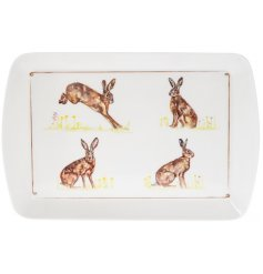 Bring a classical Country Charm to any kitchen interior with this delightful plastic serving tray with a printed Hare d
