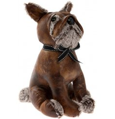 A stylish faux leather bulldog doorstop with a charming bow collar.