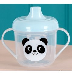 An adorable Panda design sippy cup with blue lid and double handles. Perfect for your little ones on the go.