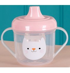 A cute cate design sippy cup with a pink lid and double handles. An adorable item for your little ones to enjoy