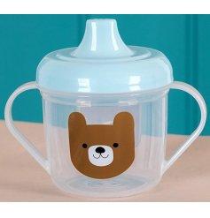 An adorable bear design mug with blue top. Perfect for drinks on the go for your little bear.
