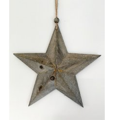 A rustic style wooden star with a grey washed finish. An on trend decoration with a chunky rope hanger.