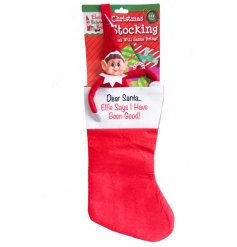 A fun and festive themed felt stocking complete with a cheeky little elf decal and scripted text