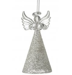 A classic glass angel decoration with a silver glitter skirt and heart detail.