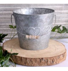 this charming bucket will place perfectly in any garden space