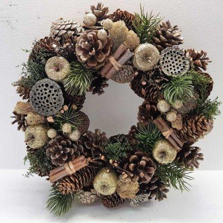 Golden Fruits Wreath, 30cm