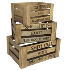 A set of 3 wooden storage crates. Ideal for decoration, display and storage.