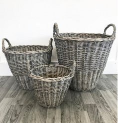 Set of three charming willow baskets, a perfect addition to a cosy living room