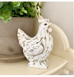 A charming wooden effect white hen decoration. A shabby chic interior accessory for the home.