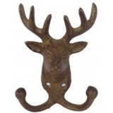 A cast iron rustic set of hooks with reindeer motif.