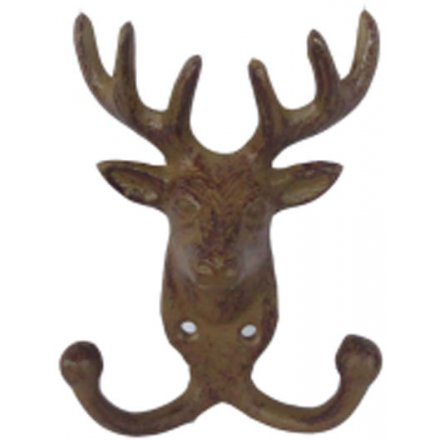 A rustic style cast iron deer hook in antique brown.
