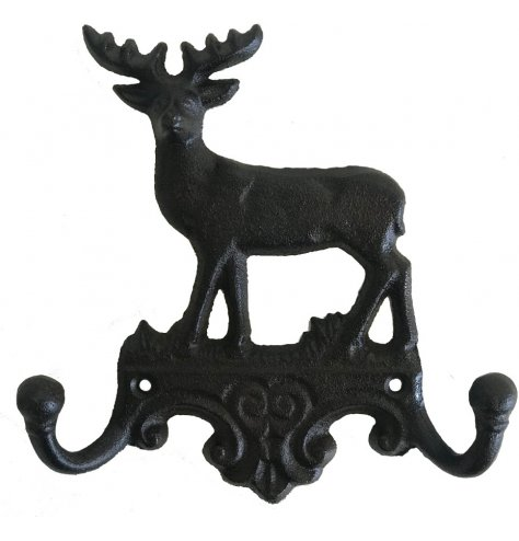 A traditional style cast iron set of hooks with reindeer motif.