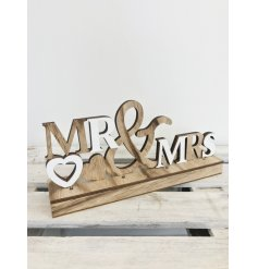 Gift the happy couple with this white and natural wooden sign with LED lights.