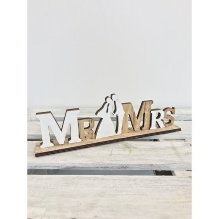 Mr & Mrs Wooden Plaque, 28cm