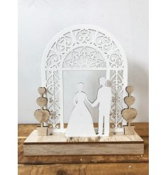 A beautiful laser cut wedding decoration with LED lights. Gift to the happy couple and display at weddings.