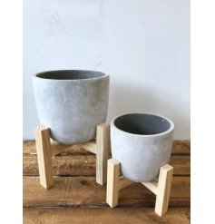 A contemporary style concrete planter set upon a modern wooden stand.
