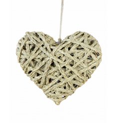 A rustic style plaited straw heart decoration.