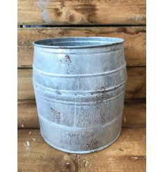 A rustic and unique barrel style planter. A unique gift for the home and garden.
