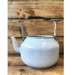 A fabulous vintage inspired grey metal teapot planter. A unique gift item and home decoration.