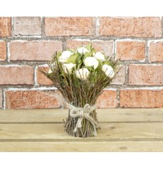 A chic wooden floral bouquet with natural twigs. A beautiful keepsake item and interior accessory.