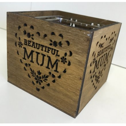 A rustic wooden candle holder with a laser cut beautiful mum design and glass insert.