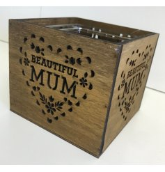 A square wooden candle holder with a beautiful laser cut mum design.