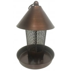 A simple yet stylish copper toned metal bird feeder complete with a cone roof and metal net surround