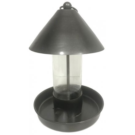Glass Surround Metal Bird Feeder - Gun Metal