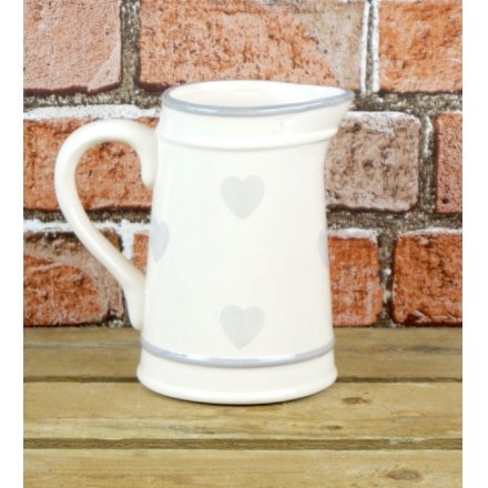 Ceramic Jug With Faded Heart Decal