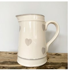 A ceramic Jug with added grey heart detailing