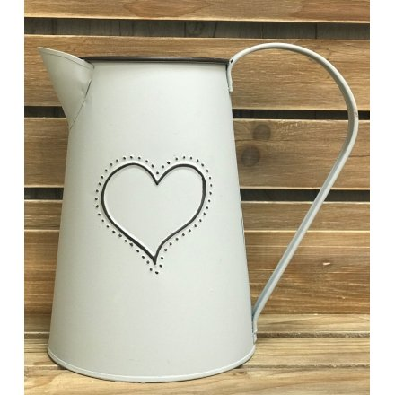 Grey Jug With Embossed Heart, 17cm