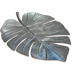 A stylish leaf dish with a hammered finish. A beautiful decorative accessory for the home.