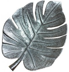 A stylish silver leaf decoration with a hammered finish. A chic interior decoration for the home.