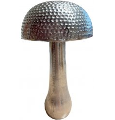 An attractive and on trend silver mushroom ornament. A unique interior accessory and gift item.
