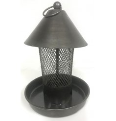 A Distressed gun metal toned bird feeder complete with a cone shaped top and meshed netted surround