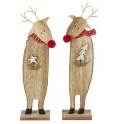 An assortment of 2 wooden reindeer decorations in star and tree designs.
