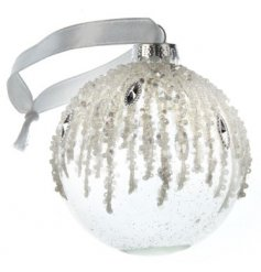 A stunning glass bauble embellished with cascading pearls and diamond shaped gems.