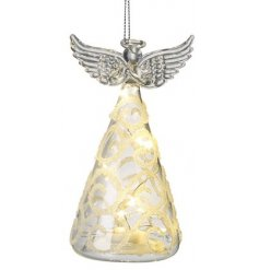 Bring a soft warm glow to any interior this Festive Season with this charming Glass Angel decoration