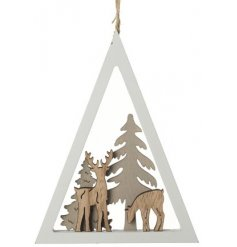A charming and unique winter woodland scene set within a triangular frame. Complete with jute string to hang.