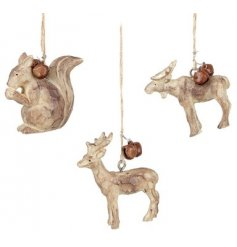 An assortment of 3 hanging woodland animals each with rustic bells.
