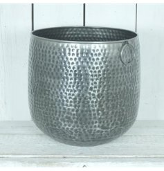 A Large set of Zinc Planters featuring hopped handles and an added hammered effect