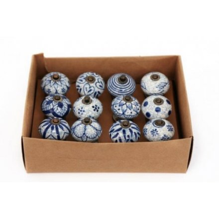 Small Rustic Blue and White Doorknobs