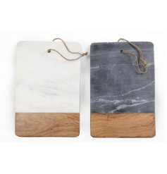 With their combinations of smooth natural Acacia wood and rough Slate and faux marble