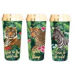 An assortment of 3 glamorous, tropical design travel mugs with wild slogans.