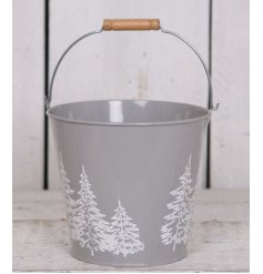 A stylishly simple grey metal bucket featuring a white forest outline