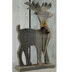 A lovely natural Driftwood Christmas Reindeer decorated with a hessian rope bow and rusted bell for decoration